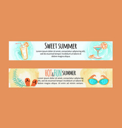 sweet hot fun summer banners set with accessories vector image