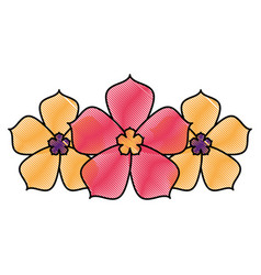 three sakura flower decoration natural vector image
