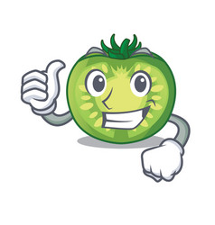 Thumbs up green tomato slices on character plates vector