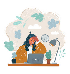 tired woman who touch her vector image