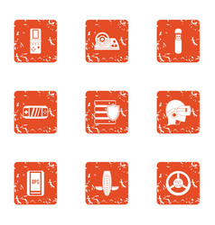 Transistor icons set grunge style vector