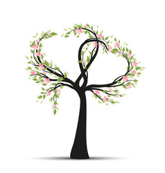 Tree with branches in heart shape vector