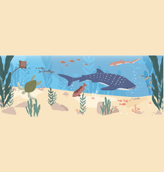 Underwater life fishes at sea bottom wild vector