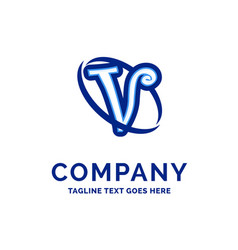 v company name design blue logo design vector image