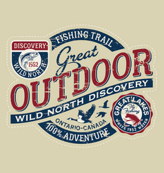 vintage canada outdoor wild north discovery vector image