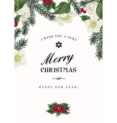 Vintage Christmas greeting card with branches vector