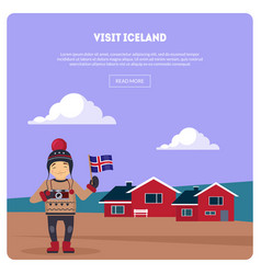 visit iceland banner landscape with little houses vector image