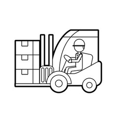 warehouse worker loading cardboard boxes forklift vector image