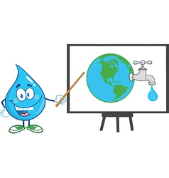 Water droplet cartoon character teaching vector