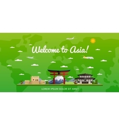 Welcome to Asia poster with famous attractions vector image