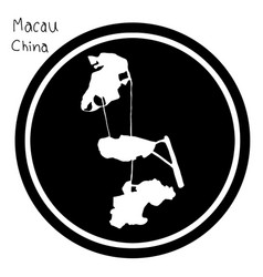 White map of macau on black circle vector