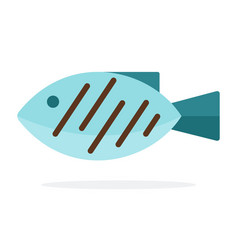 Whole grilled fish flat isolated vector
