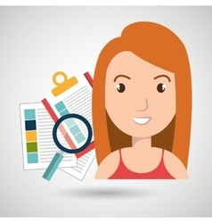 women and papers isolated icon design vector image