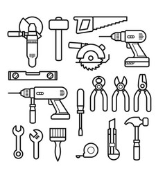 work tools line icons - puncher drill wrench vector image