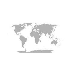 World map in robinson projection solid gray land vector