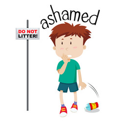 Young boy ashamed image vector