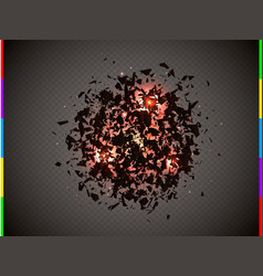 abstract explosion cloud of black pieces with red vector image vector image