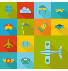 Airplane Party set - Flat Icons Design vector image vector image