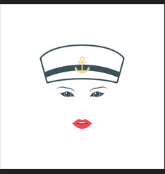 girl sailor in white hat isolated on white vector image vector image