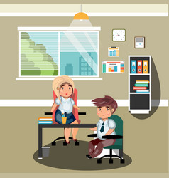 man and woman in the office vector image vector image