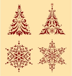 Set of Christmas ornaments vector image vector image