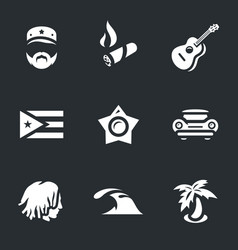 set of cuba icons vector image vector image