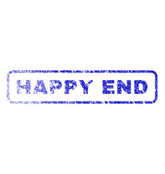 happy end rubber stamp vector image