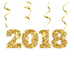 Happy new 2018 year gold glitter particles and vector