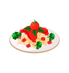 Pasta with Tomatoes vector image