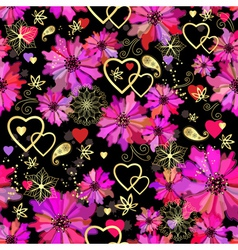 Valentine seamless dark floral pattern vector image vector image