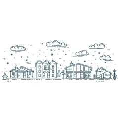 Winter Cityscape with houses vector image