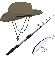 Fishing pole hat and bait vector image