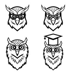 set of the owl heads isolated on white background vector image vector image