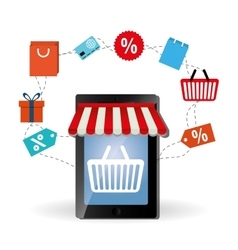 Shopping online and smartphone design vector image