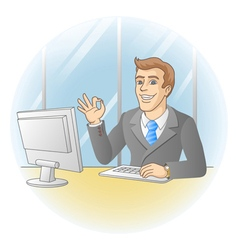 Smiling businessman shows that all is okay vector image vector image