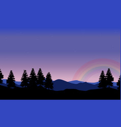 Spruce on the hill with rainbow landscape vector