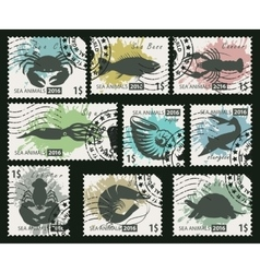 stamps on the theme of sea life animals vector image