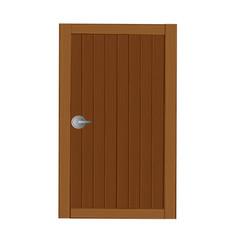 Wooden gates in dark brown cartoon vector