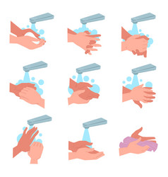 Advice on how to wash and dry hands vector