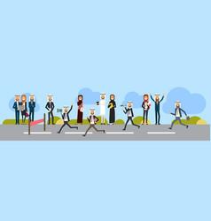 arab businessman crossing finish line wear office vector image