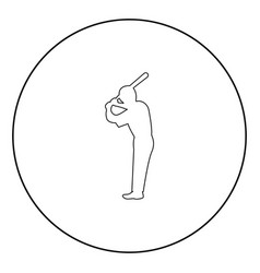 ballplayer icon black color in circle vector image