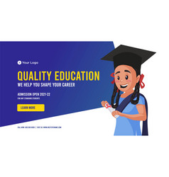 Banner design of quality education vector