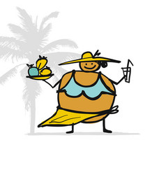 big woman with food and drink on beach sketch vector image
