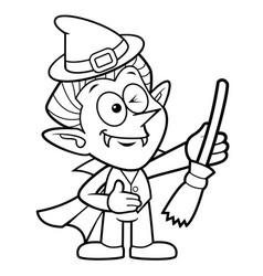 Black and white dracula mascot halloween costume vector