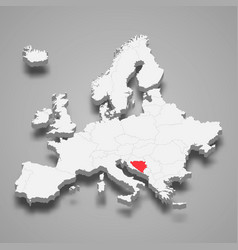 bosnia country location within europe 3d map vector image