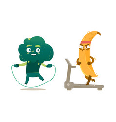 Broccoli banana characters doing sport exercises vector