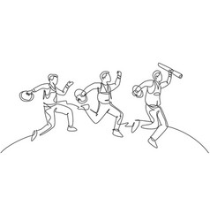 Business team goal concept one line drawing vector