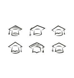 cap graduate logo education icon or symbol vector image