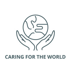 caring for world line icon caring for vector image