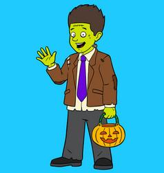 cartoon boy in zombie costume vector image